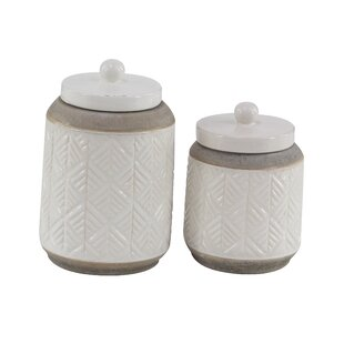 Modern Cylindrical 2 Piece Storage Jar Set