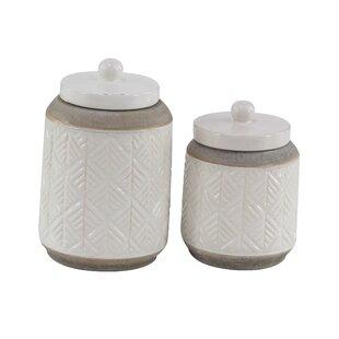 Modern Cylindrical 2 Piece Storage Jar Set