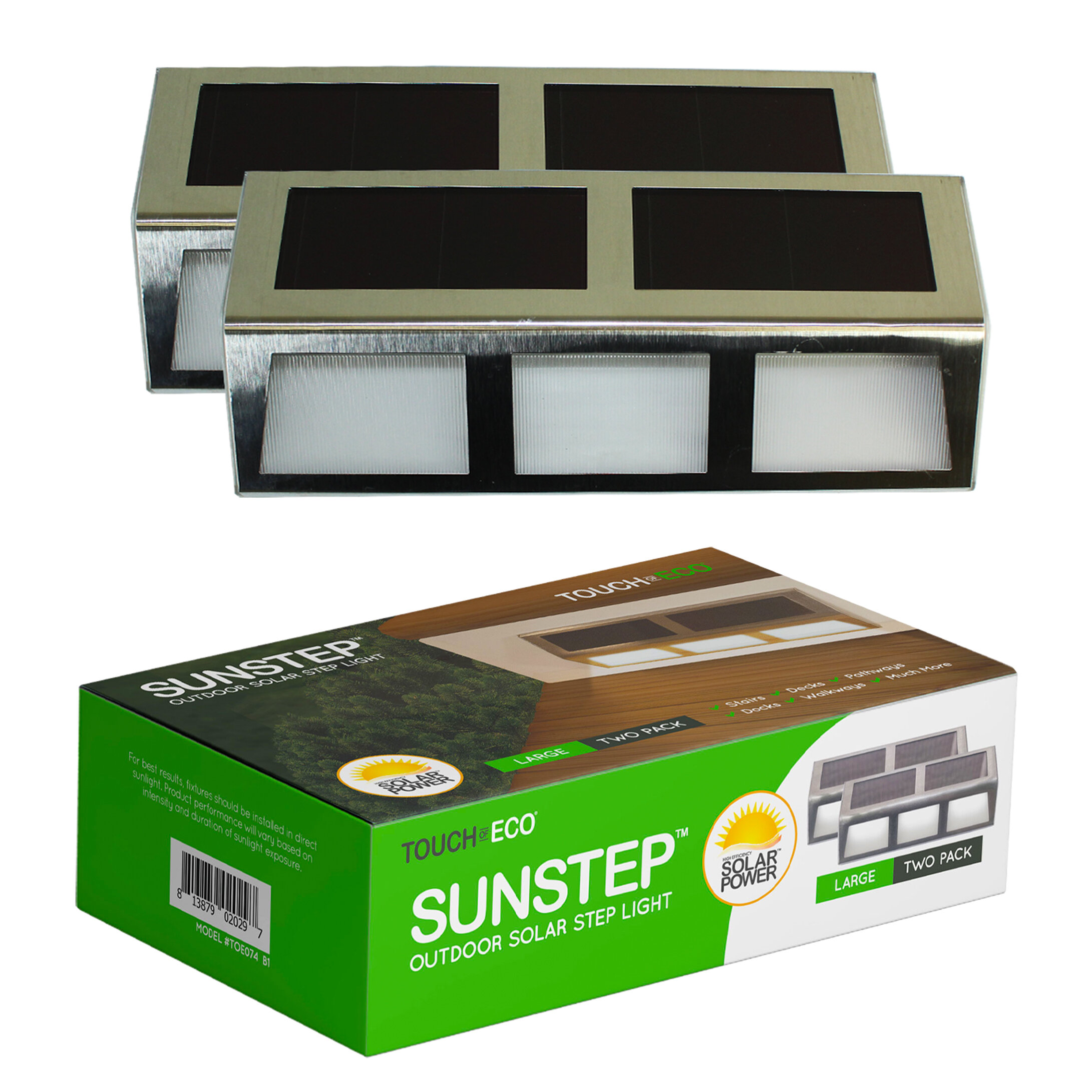 Touch Of Eco Sunstep Steel Solar Powered Integrated Led Deck Light Pack Reviews Wayfair