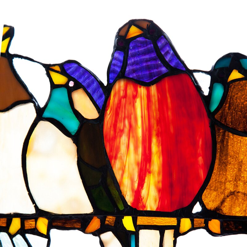 August Grove Birds On A Wire Tiffany Style Stained Glass Window