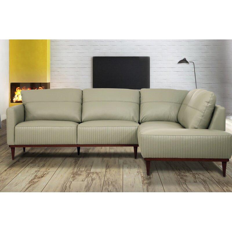 Corrigan Studio Tampa Right Facing Sectional Sofa In Pearl Grey Leather Wayfair Ca
