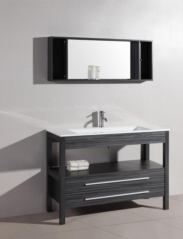 """Bathroom Vanity Sets bosconi contemporary 48"""" single bathroom vanity set with mirror"""