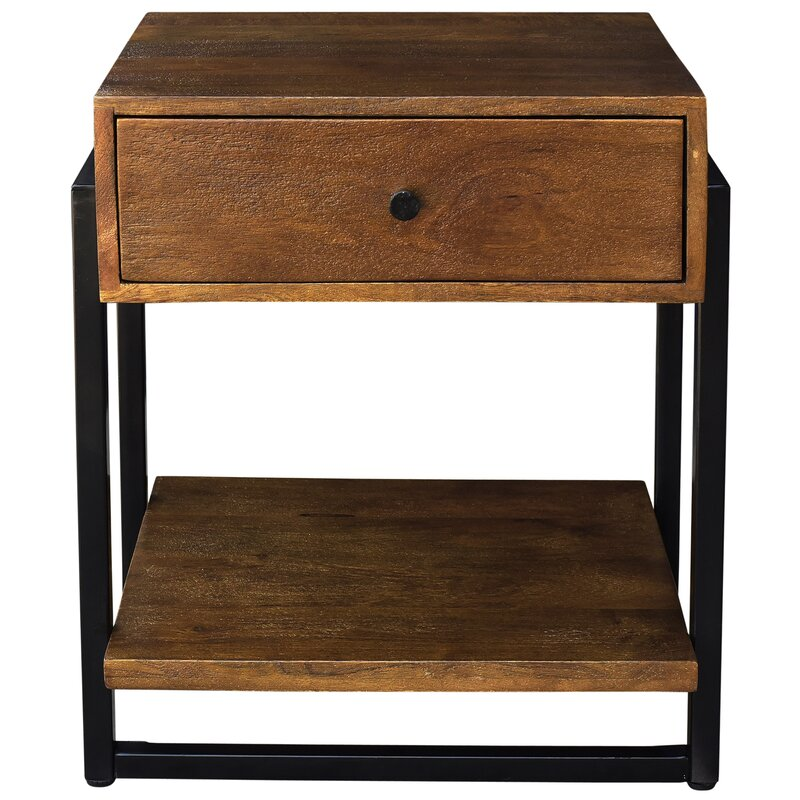 Lowe Solid Mango Wood And Metal End Table
