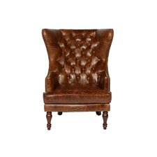 Sedgefield Wing Back Tufted Wingback Chair by Lazzaro Leather