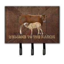 Welcome To The Ranch with The Cow and Baby Leash Holder and Key Hook by Caroline's Treasures