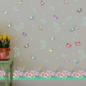 Summer Flowers Skirting and Swarovski Crystals Wall Sticker