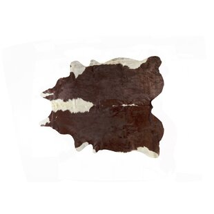 Affordable Barnes Kobe Flatweave Cowhide Hereford Brown/White Area Rug By Millwood Pines