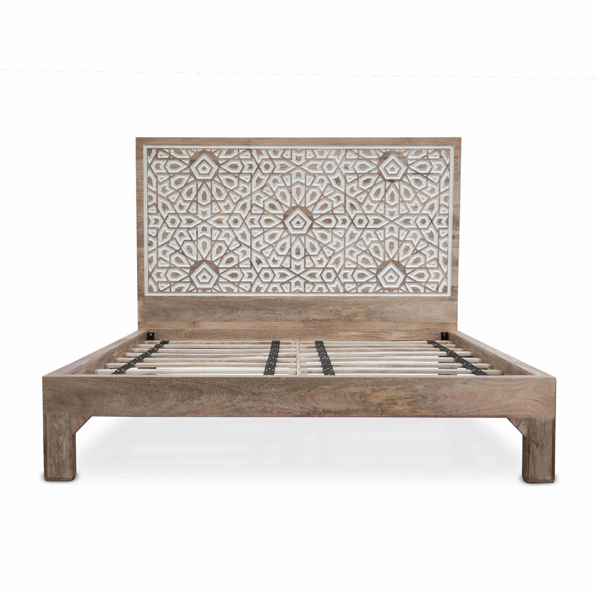 Dakota Fields Standifer Mango Wood Geometric Carved King Platform Bed Wayfair