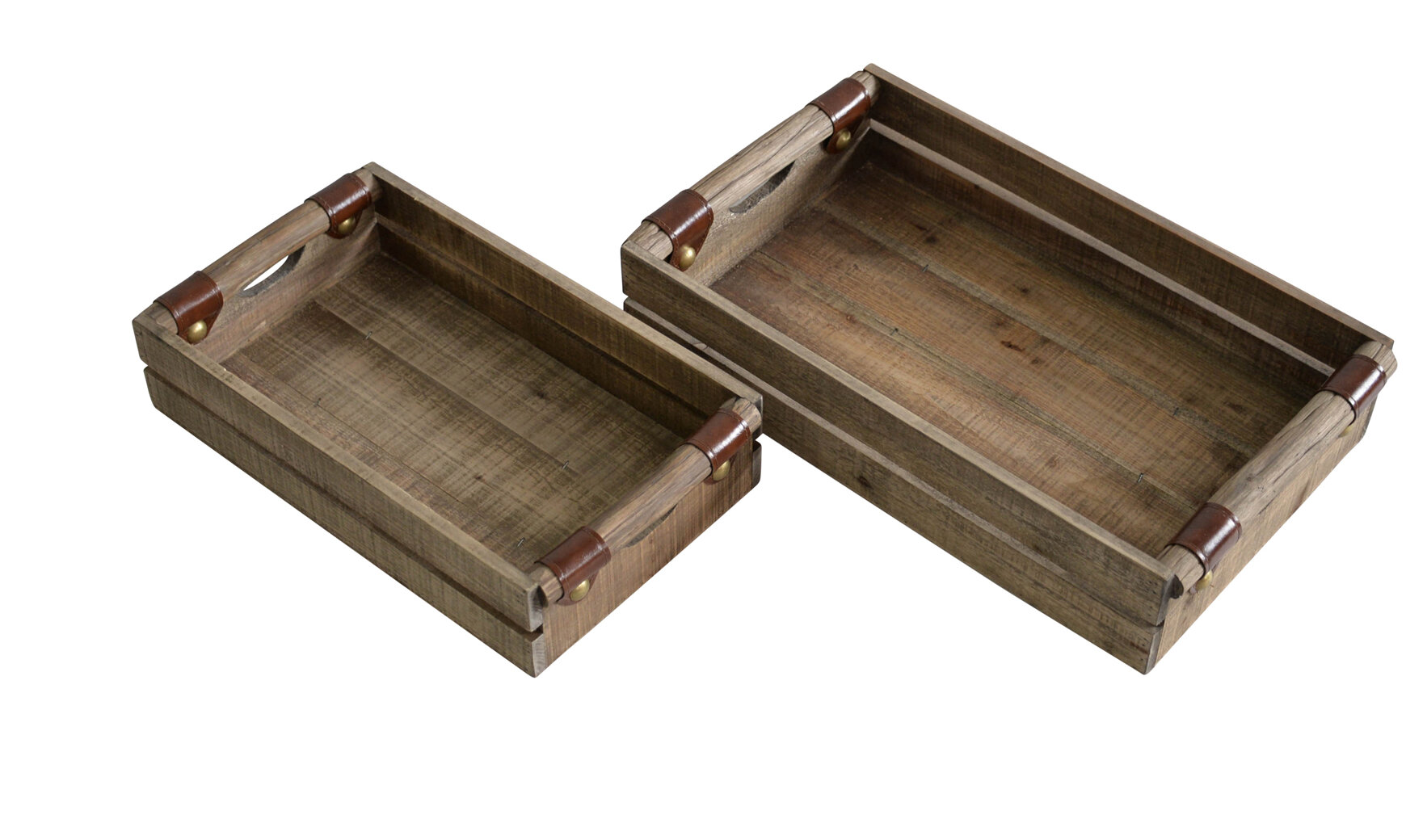 Trays Set Of 2 Brown Wood Nesting Breakfast Serving Tray W Twisted Rope Handles Home Garden Mbln Org