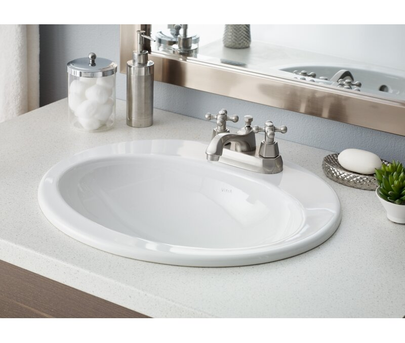 CheviotProducts Aria Vitreous China Oval Drop-In Bathroom Sink with ...