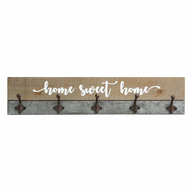 Gracie Oaks Sansone Home Sweet Home Wall Mounted Coat Rack
