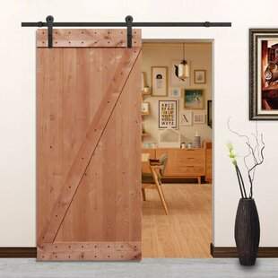 Paneled Wood Unfinished American Barn Door Without Installation Hardware Kit