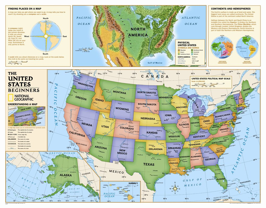 Large scale political and administrative map of the usa 2002 usa national geographic maps kids beginners usa wall map grades k usa map to scale sciox Gallery