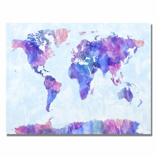 Maps canvas art youll love wayfair watercolor world map iv by michael tompsett graphic art on canvas gumiabroncs Images