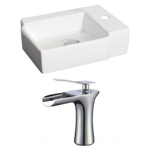 Compare Ceramic 17 Wall Mount Bathroom Sink with Faucet and Overflow By American Imaginations