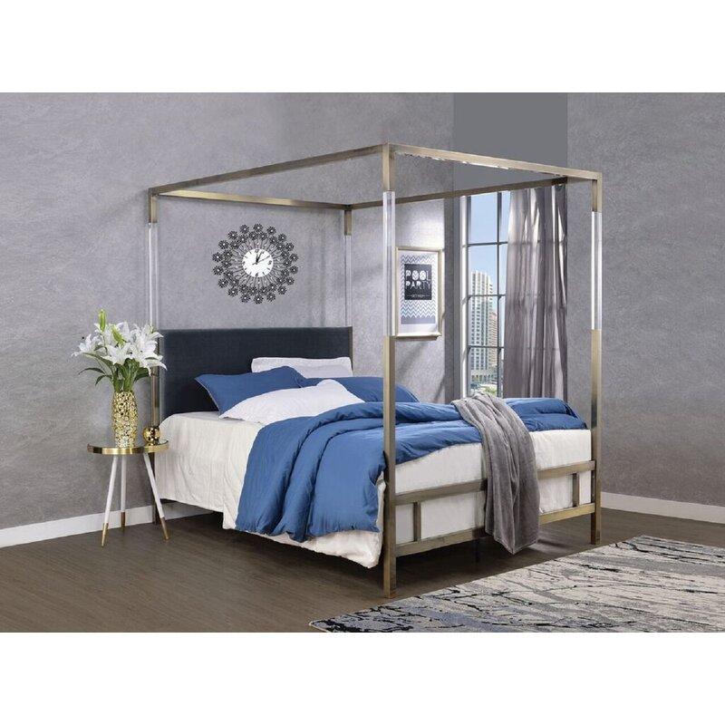 Everly Quinn Sherwin Queen Upholstered Canopy Bed Wayfair