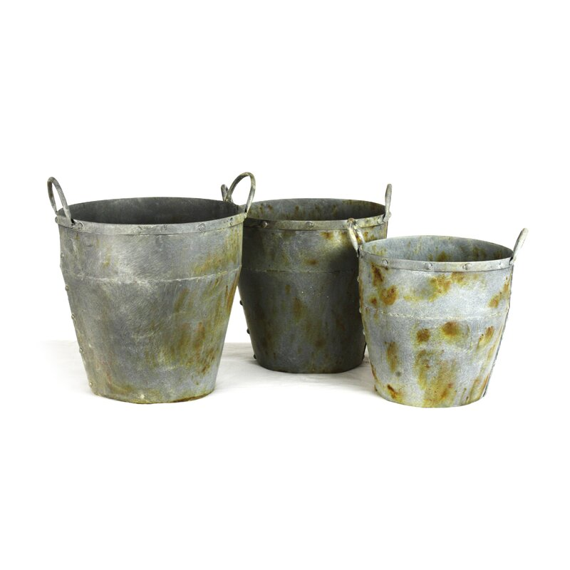 Zentique 3 Piece Metal Bucket Set Wayfair
