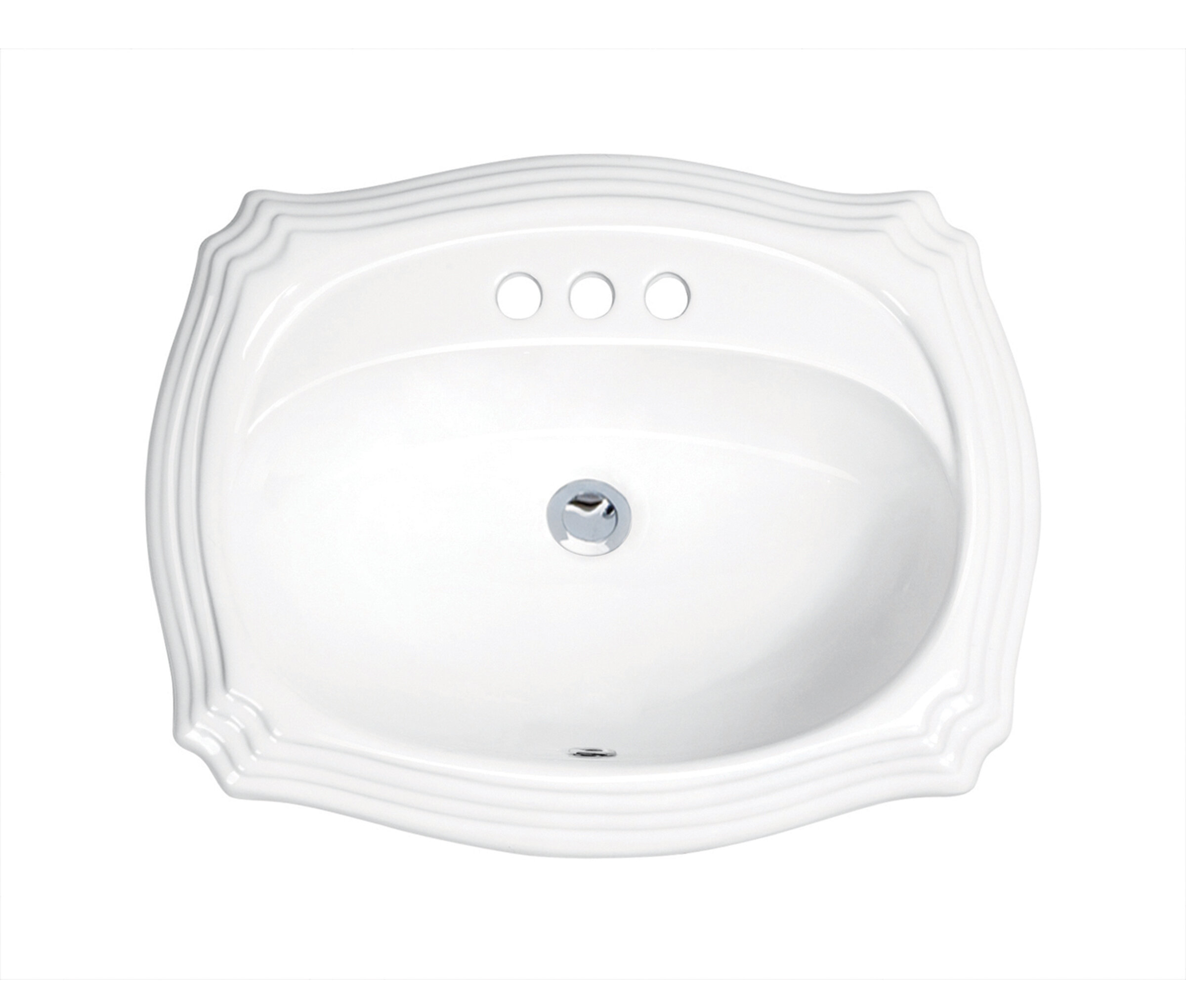 White Drop-In Bathroom Sink with Overflow