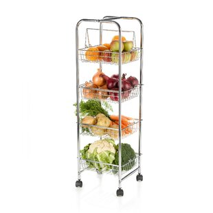 Kitchen Trolley On Wheels For Food Storage With 4 Baskets Serving Cart By KitchenCraft