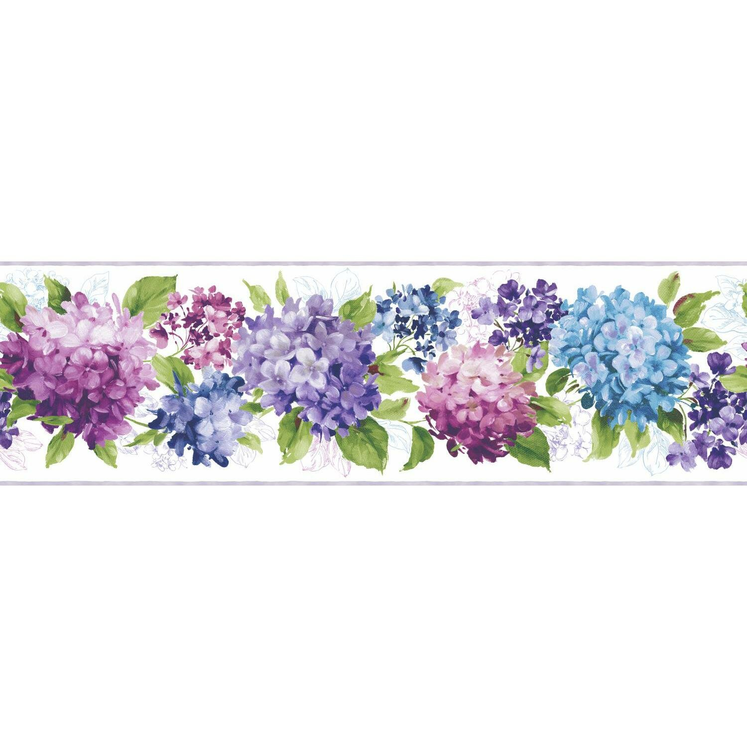 York Wallcoverings Kitchen And Bath Hydrangea 15 X 9 Floral And