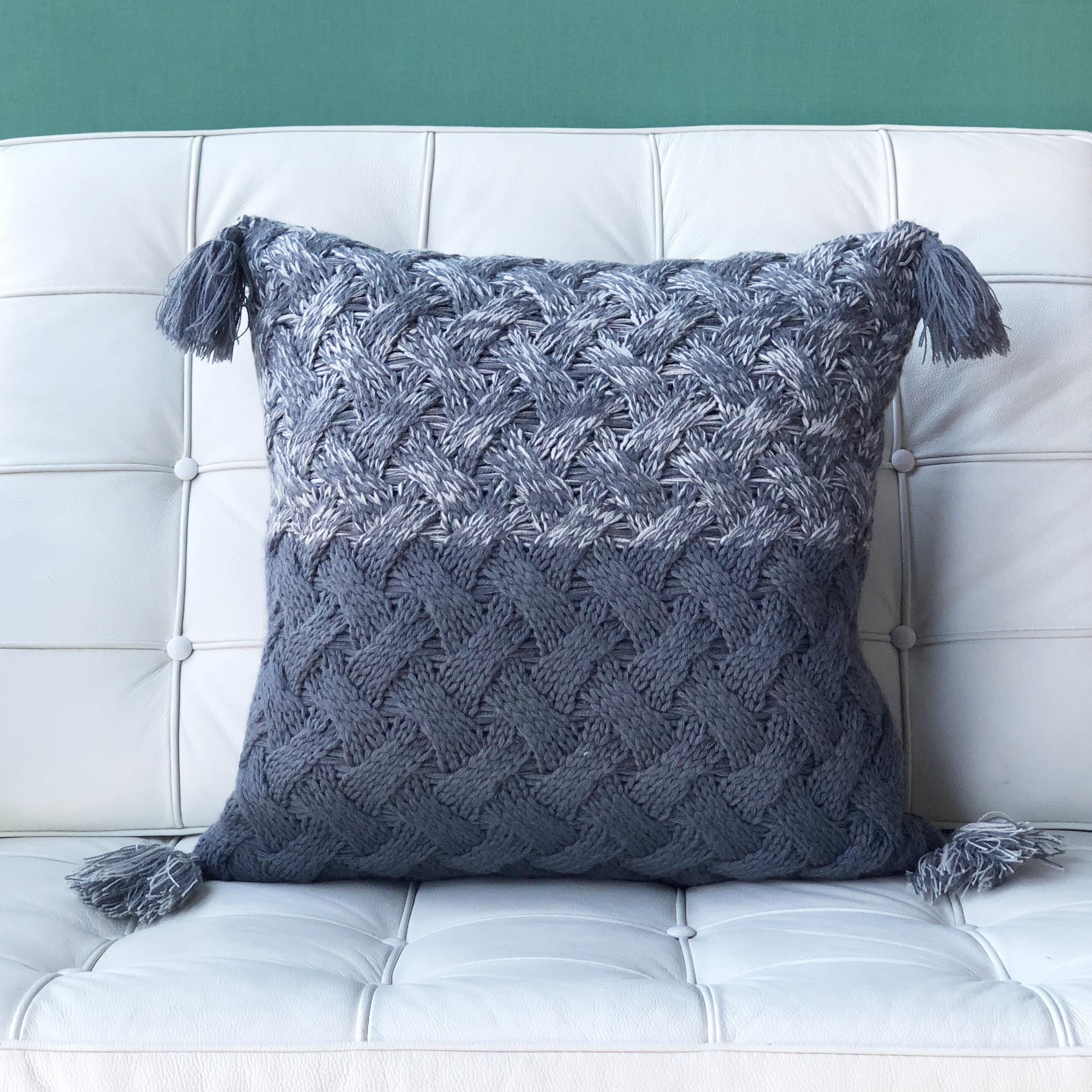 Union Rustic Lynn Winter Field Cross Knit Throw Pillow Wayfair