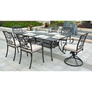 cast aluminum patio chairs. Christena Cast Aluminum 7 Piece Dining Set With Cushions Patio Chairs