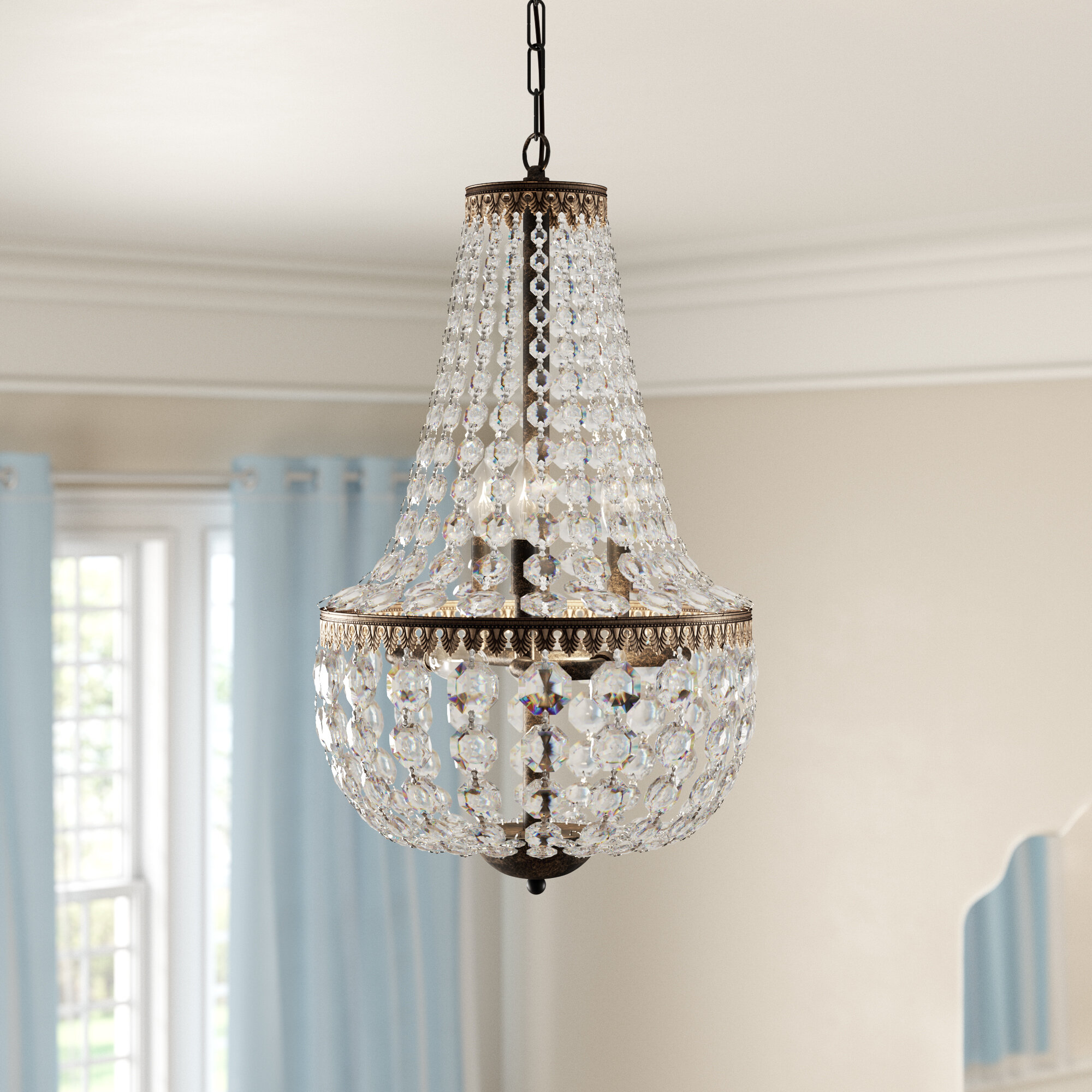 House Of Hampton Fraser 6 Light Unique Statement Empire Chandelier With Crystal Accents Reviews Wayfair