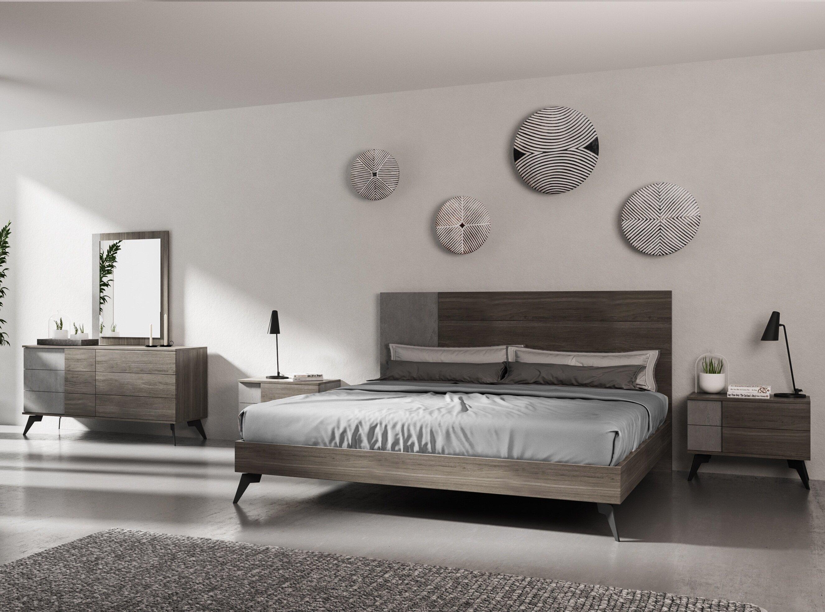 Ivy Bronx Bayport Italian Modern Platform 5 Piece Bedroom Set | Wayfair