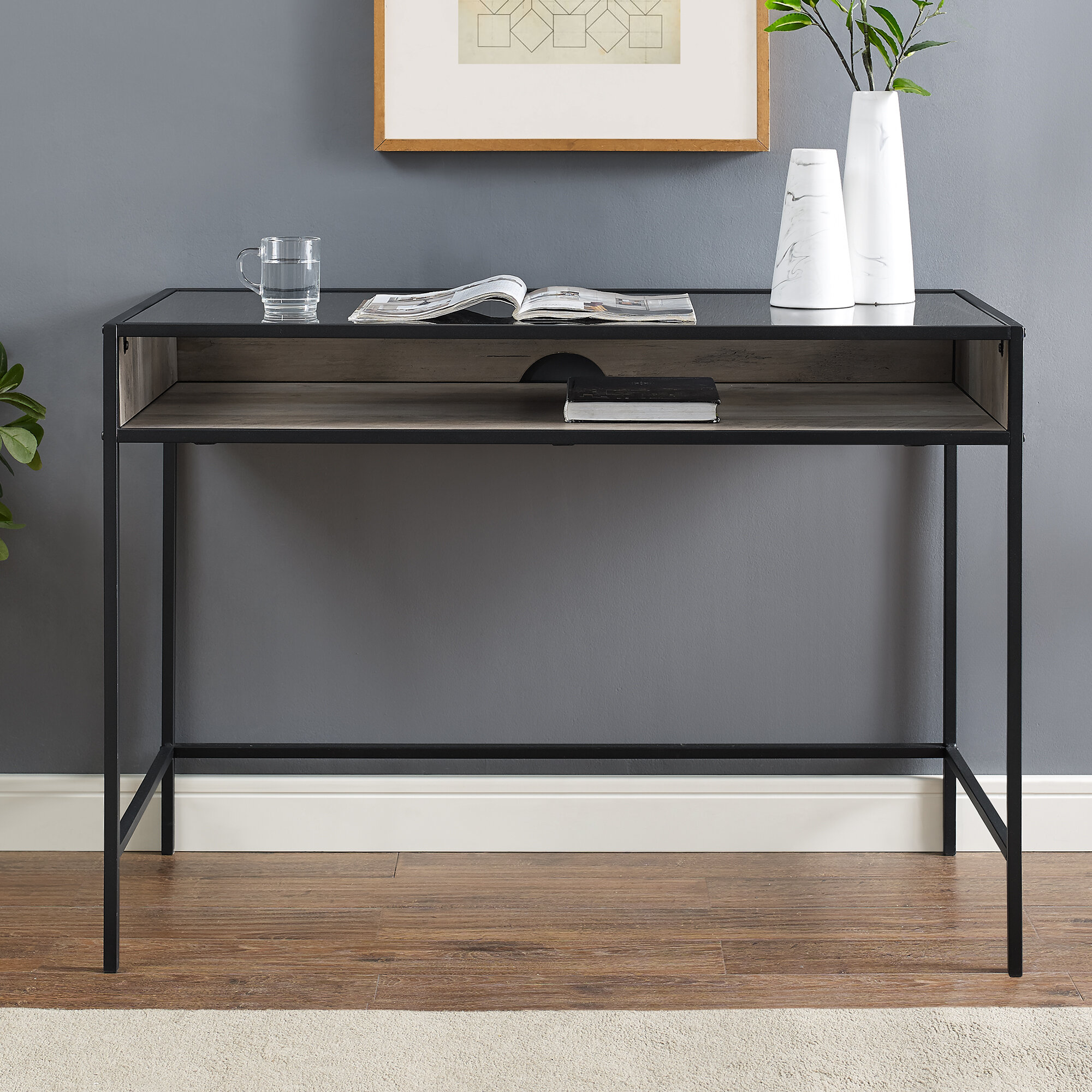 Williston Forge Nowak Glass Desk Reviews Wayfair