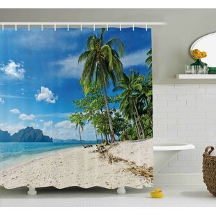 Phoebe Landscape Exotic Botanic Island Near Seashore Palms Mountains Clear Bright Sky Photo Single Shower Curtain