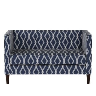 Edford Five Button Crossweave Loveseat by Wrought Studio