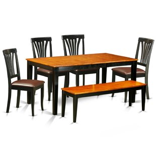 August Grove Pillar 6 Piece Wood Dining Set with Rectangular Table Top