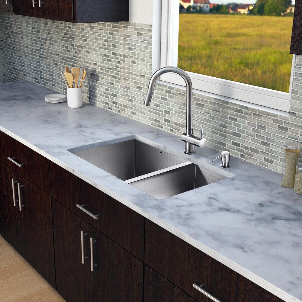 "VIGO 29"" X 20"" Double Basin Undermount Kitchen Sink With"