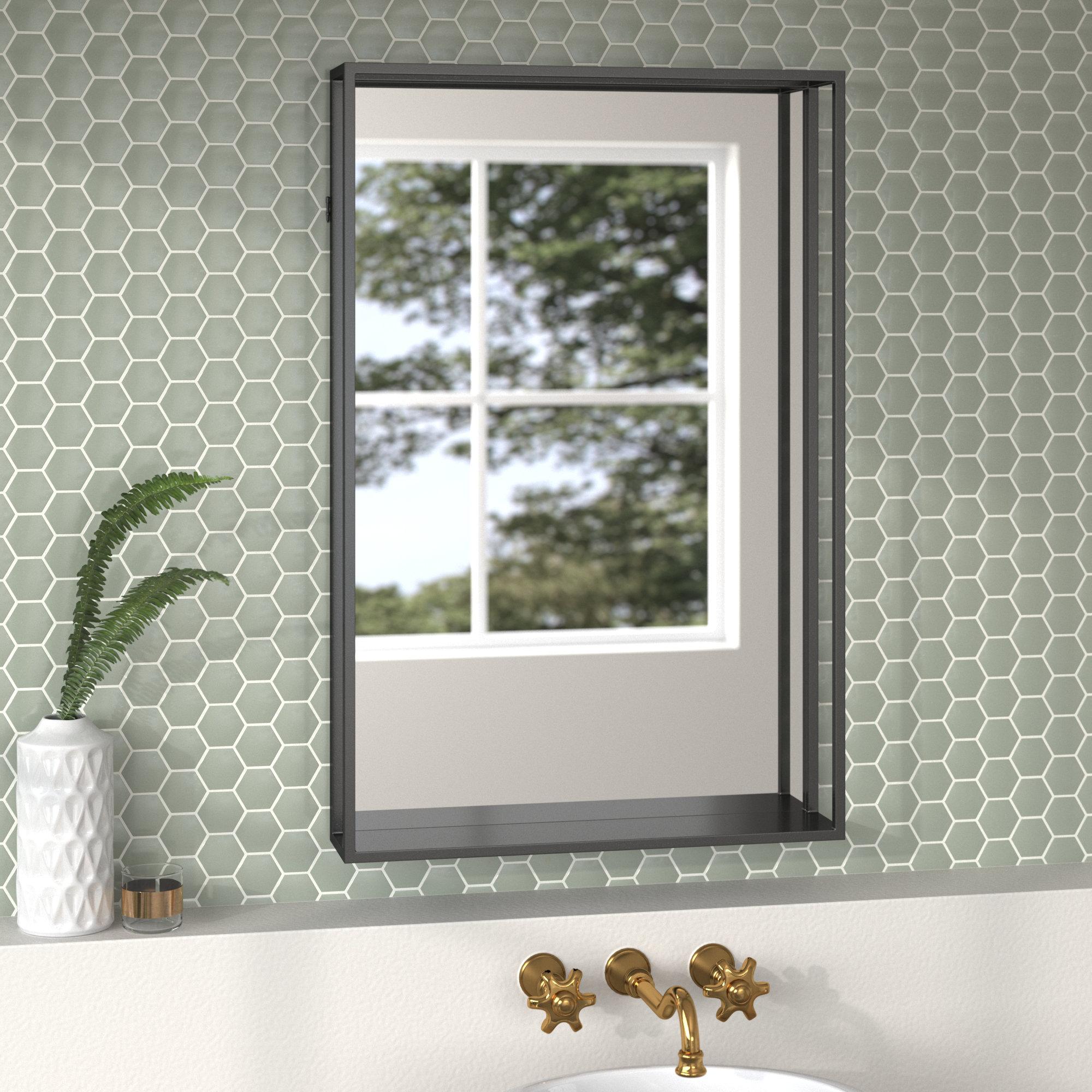 Joss Main Alaina Glam Beveled With Shelves Accent And Bathroom Vanity Mirror Reviews Wayfair
