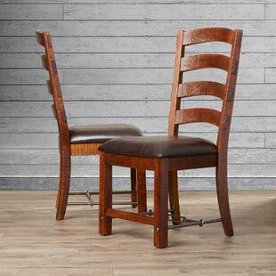 Diez Ladderback Genuine Leather Upholstered Dining Chair (Set of 2) by Loon Peak
