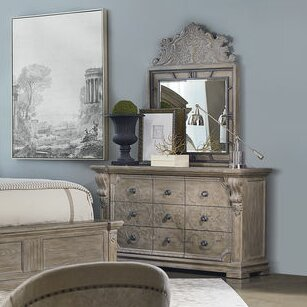 Jacey 9 Drawer Dresser with Mirror
