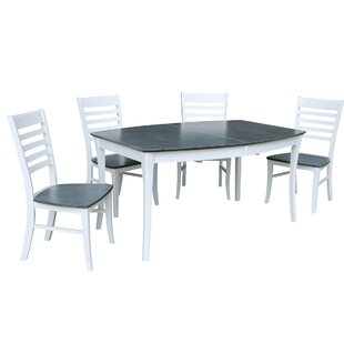60 - 78 x 42 Rectangular Extension 5 Piece Dining Set with 4 Ladderback Chairs