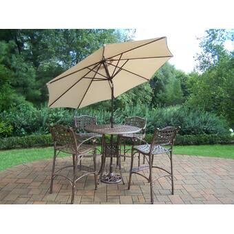 August Grove Wendling 6 Piece Bar Height Dining Set With Umbrella Wayfair