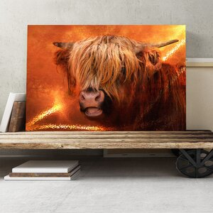 Highland Cow Graphic Art on Canvas