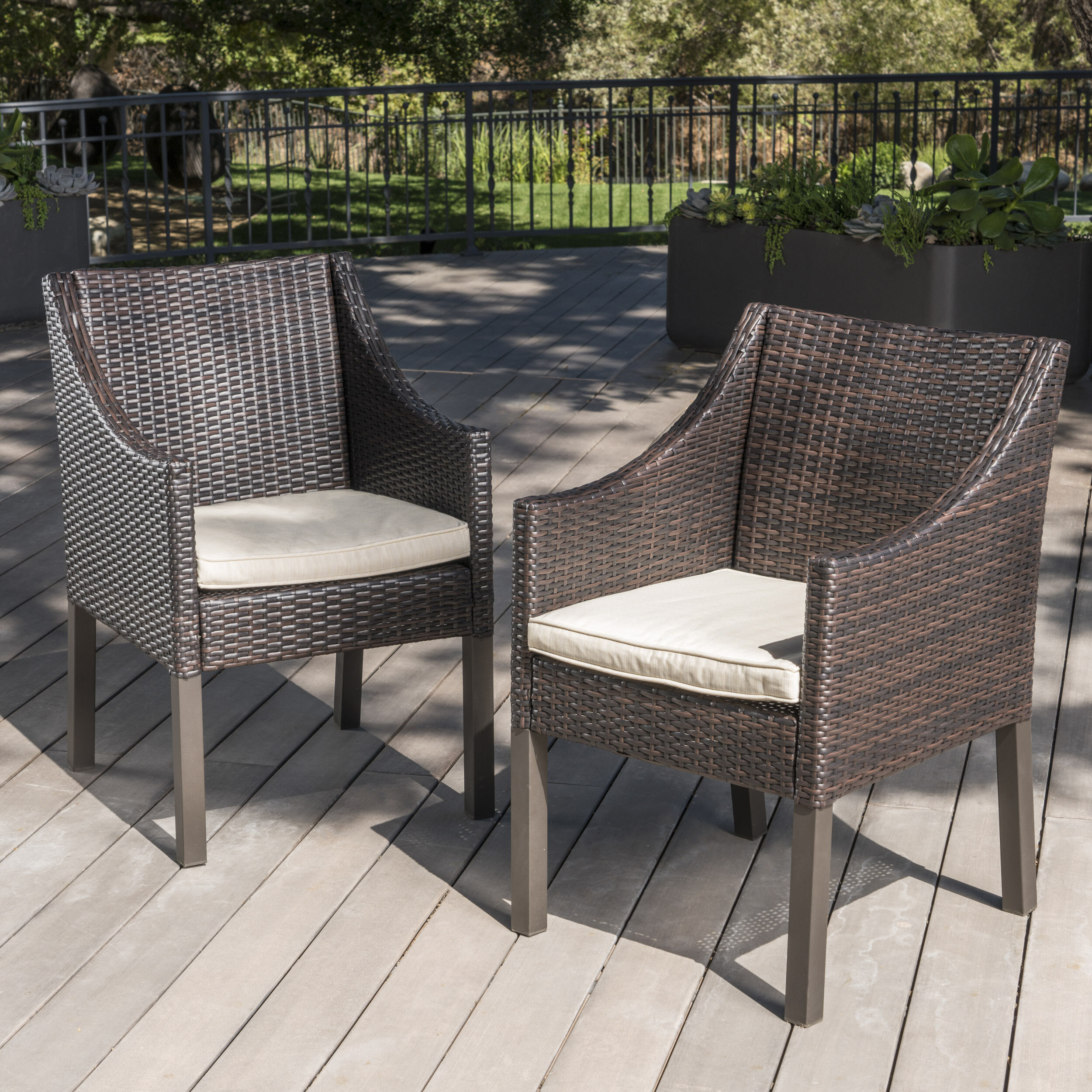 Ivy Bronx Arciniega Outdoor Wicker Patio Dining Chair Wayfair