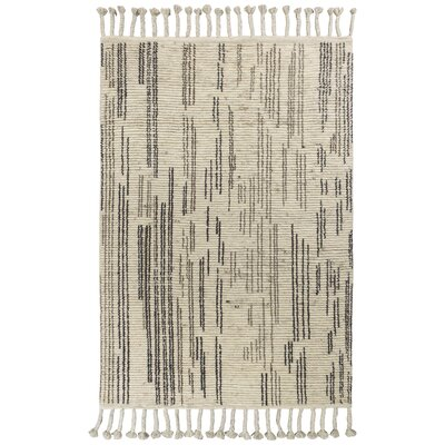 Loon Peak Faxon Hand-Knotted Wool Beige/Black Area Rug Rug Size: Rectangle 7'9 x 9'9