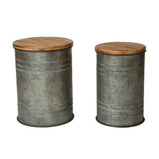 Gracie Oaks Pieper 2 Piece Storage Accent Stool Set