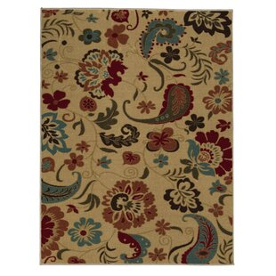 Arline Rubberback Rectangle Beige Indoor/Outdoor Area Rug