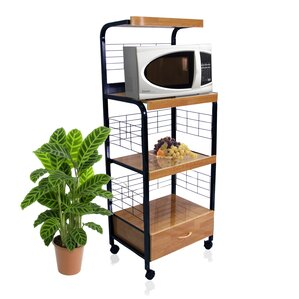 Microwave Cart with Wood Top by Hazelwood Home