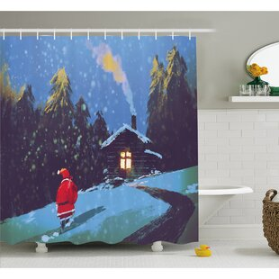 Christmas Santa Claus Walking to the Mountain House Surrounded by Pines Shower Curtain Set ByEast Urban Home