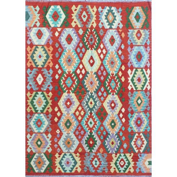 Foundry Select Hults Handmade Kilim Wool Rust Light Blue Rug Wayfair