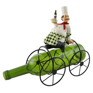 Alissa Smiling Chef Holding Wine and Cheese 1 Bottle Tabletop Wine Rack by Fleur De Lis Living