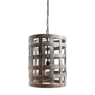 Gracie Oaks Wagner Wood 1-Light Cylinder Pendant