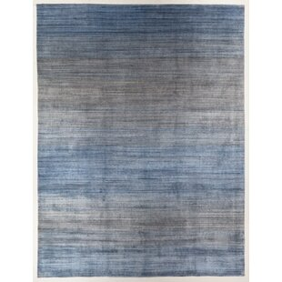 Paquette Rectangle Ombre Hand Loomed Light Blue Gray Area Rug