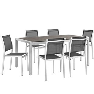 Orren Ellis Coline Outdoor Patio Aluminum 7 Piece Dining Set